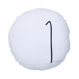 Coussin rond 100% lin - Blanc