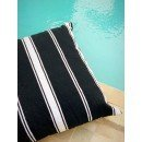 Grand coussin noir rayures blanches, 100% laine