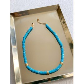 Collier ras du coup turquoise