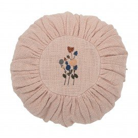 Coussin rond brodé - rose