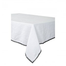 Serviette de table en lin blanche à bordures