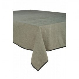 Serviette de table en lin bronze à bordures