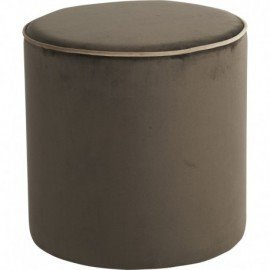 pouf velours taupe